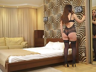 Concupiscent housewife in sexy lingerie and stockings Lia masturbates wet pussy