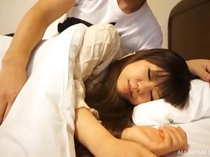 Cute Japanese ten babe wakes up and gets a pussy creampie