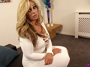 This thick Caucasian MILF is one helluva woman and she loves her dildo commonly