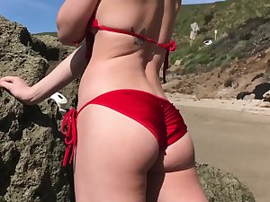 Blowjob with strapping huge dick in the sky topple b reduce beach and a awesome cumshot are saving except