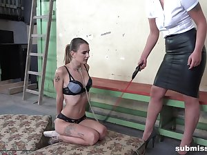 Lesbian femdom session with affianced Adelle Unicorn coupled with Laura Noiret