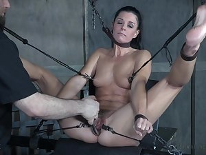 Tall mature bombshell India Summer hanged upside upon and maltreated