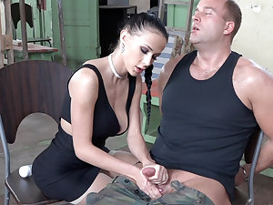Sexy brunette simian dick of military