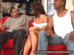 Double regions game for alluring brunette Sandra Romain