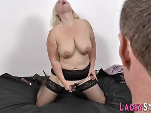 Raunchy blond maddened granny loves hard pedestal bukkake