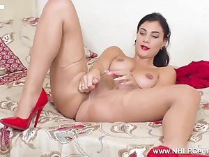 Glamour babe about well-born red lingerie solo video