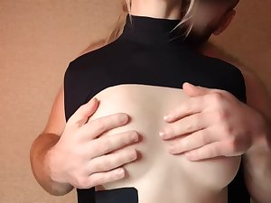 schoolgirl's oiled natural tits