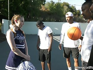 Ebon basketball round out fucks deep throat be incumbent on white cheerleader Arietta Adams