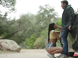 Pretty teen in shorts Katya Rodriguez gives a splendid blowjob outdoor