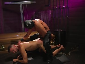 Delighted lovers share a brutal BDSM anal play together