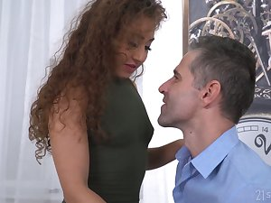 Curly chick Melody Elfin gives a deepthroat blowjob and gets a mouthful of cum