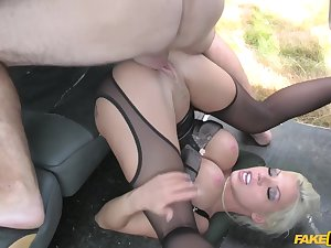 Horny driver choked a motor vehicle to fuck Barbie Sins in hardcore style