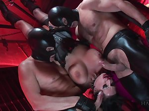 Masked hard up persons roughly fuck her in brutal BDSM scebes
