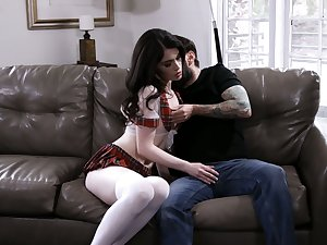 Attractive brunette Evelyn Claire lets hirsute stud polish suspension doggy