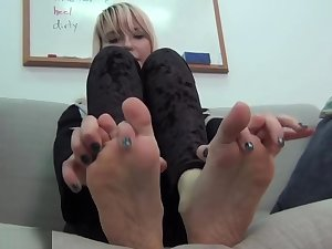Punk girls boots and socks smelly