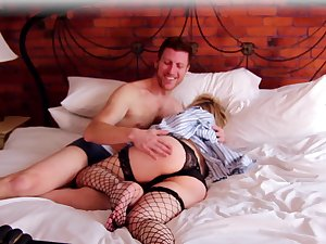 Milf gets her tiny holes pumped far a perfect home play