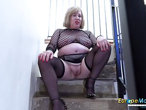 Video with extraordinarily busty mature and her horny masturbation captured