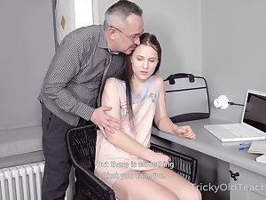 Tricky old teacher fucks Straight A-student Nikka Hill added to cums in excess of will not hear of belly