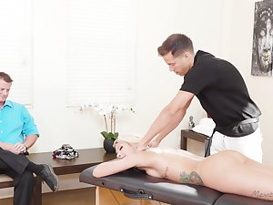 Stunning aureate milf Carmen Caliente is fucked by masseur at the of husband