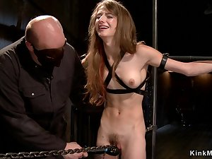 Darkhair slave is planted in the first place pipe