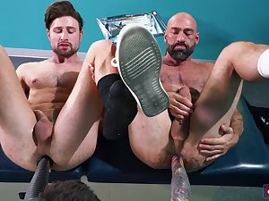 Fuck contraption anal pleasures for the three naked gay lovers