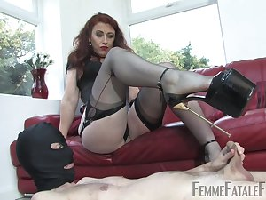Dirty Mistress Lady Renee enjoys torturing her helpless male slave