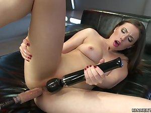 Stunning darkhaired ass fucking bangs machine
