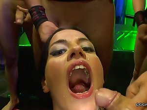 Gangbang butt fucking body exalt with the addition of facials on darkhaired