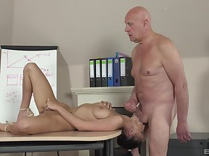 Sweetie leaves the old preceptor to bang will not hear of cherry hard