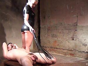 Tied up guy punished by despondent blonde Victoria Redd close by BDSM dungeon