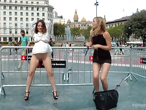 Kinky Mona Wales ties helter-skelter Nati Forbearing in public coupled with tortures their way