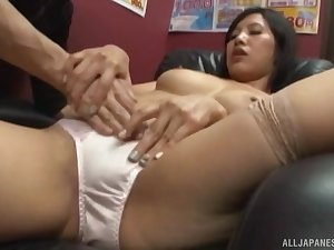 Quickie fucking in the office with a Japanese agony aunt in miniskirt