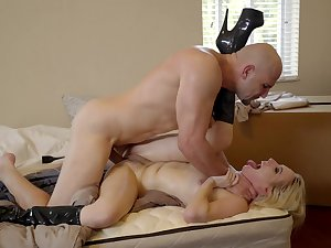 Sweet blonde screams and endures dick in all possible modes