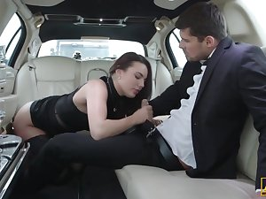 Vanessa Decker is having amazing sex with a advanced driver, in the back be fitting of a limo
