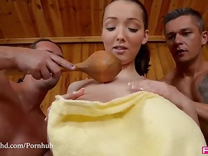 Busty Buffy Hottie Humps with 2 Guys in the Sauna