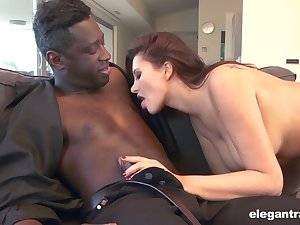 White girl Anna Polina worships a huge cock of her new black lover