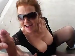 Older woman suck big dick outdoor and win facial