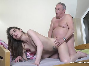 Senior man's vitalized dick suits this petite girl obese epoch