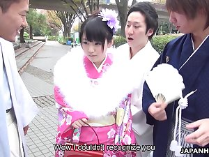 Japanese gangbang video featuring geisha Tsuna Kimura