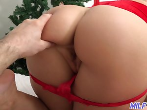 Fucking hot woman in sexy santa costume Ryan Keely gives a footjob and blowjob