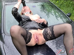 Slut Orgasma-Celeste outdoor ascent on her car approximately the rain