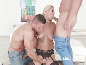 Splendid blonde in black stockings and garter belt, Alina Long is possessions doublefucked and loving it