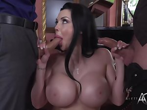 Pulchritudinous French brunette forth big tits, Aletta Ocean likes to get fucked while sucking dick