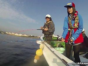 Japanese sailor Sena Sakura gives a blwojob coupled with gets fucked vulnerable a fishing boat