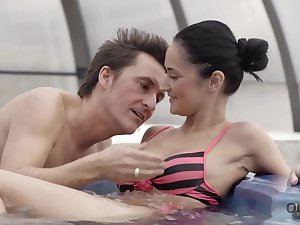 Older sweetheart invites fortunate girl to his home yon jacuzzi