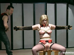 Inexact boobs torture session for grown up slut Jada Sinn. HD blear