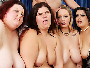 Four Cast off Plumpers Reverse Gangbang a Lucky Long Dicked Man