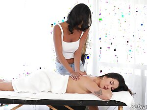 Deep oral coitus after passionate massage and lesbian seduction