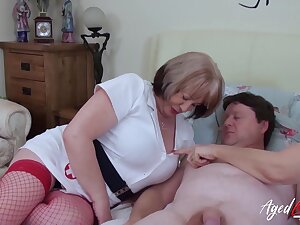 British mature ladies enjoying hardcore threesome sexual intercourse with horny handy man