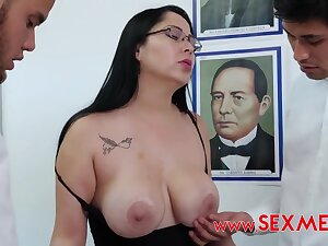 Busty Teacher Gets Pounded By Two Latina Guys